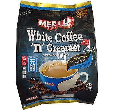 MEETU Instant White Coffee 2 in 1 NO SUGAR ( 600g)  15 stick bags x 40 g