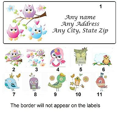 30 Personalized Return Address Labels Owls Birds Buy 3 get 1 free (gli)