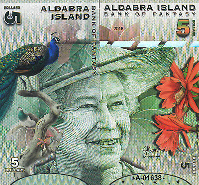 Aldabra Island 5 Dollars Unc 2018 Front And Back Side To Side Full Face Que Ii