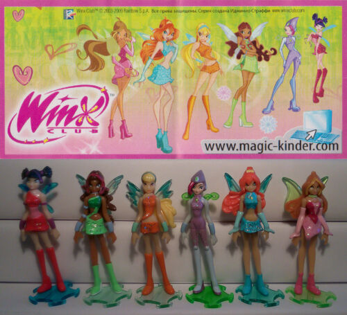WINX CLUB COMPLETE SET WITH ALL PAPERS KINDER SURPRISE 2009