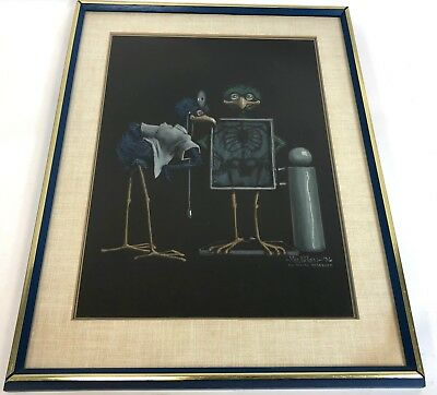 "Vintage 25"" Framed Matted 1976 Mel Wiken Birds Doctor Office Xray X-Ray Print"