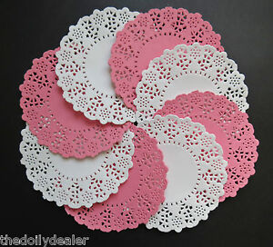 PINK AND WHITE DAISY CHAIN 11cm PAPER LACE DOILIES X 20