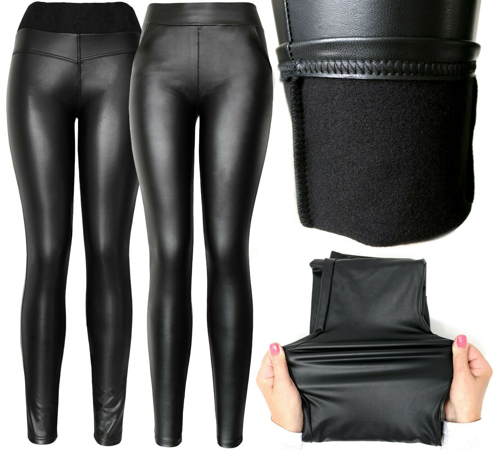 Stretchy Faux Leather Leggings Pants Sexy Black High Waist Leggings Clothing, Shoes & Accessories