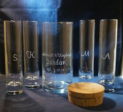 5 pc Wedding Sand Ceremony Set, Engraved 7 x 3 Vase, Cork - Sand Ceremony Vases