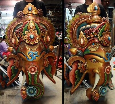 Wood Ganesh Mask: carved wall hanging statue Ganesha Nepal India Hindu murti