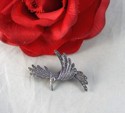 Sterling Silver Marcasite 6.92g Humming Bird Pin Brooch  CAT RESCUE