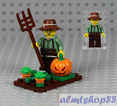 LEGO - Pumpkin Farmer Minifigure - Halloween Head Pitchfork Patch Scarecrow - Farmer Halloween
