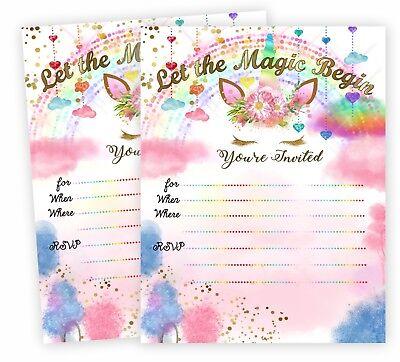 Unicorn Invitations Slumber Party Supplies Birthday Invites Decorations QTY 20](Slumber Party Decorations)