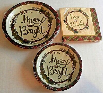 CHRISTMAS FOIL Paper Plates & Napkins GOLD PLAID WREATH Napkins w/ 2 Size Plates - Plaid Paper Plates