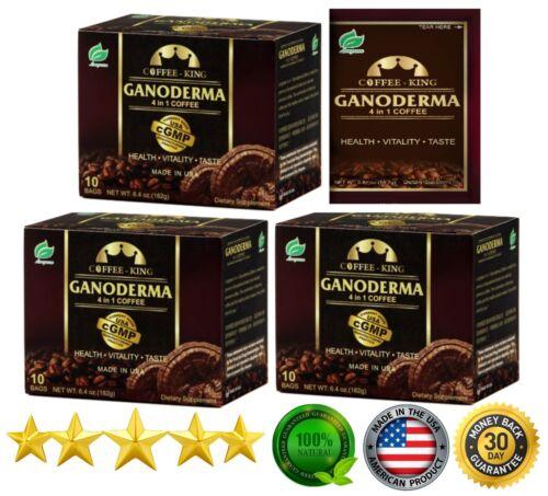 PureGano Ganoderma Red Reishi Latte Coffee 1800mg Extract 3 Box (18.2g/30 ct.)