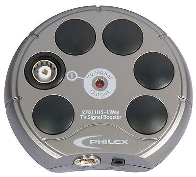 Compact Amplifiers - Philex 1-Way TV Signal Booster - 4G Compatible