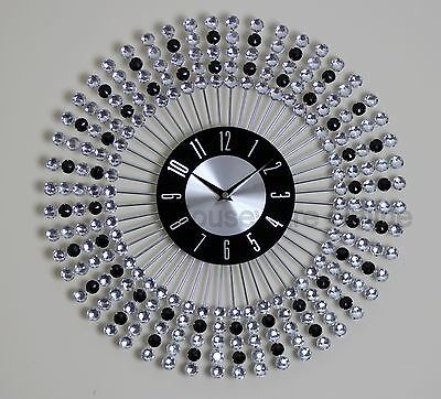43cm Clear Black Diamante Beaded Jeweled Round Sunburst Metal Wall Clock 136