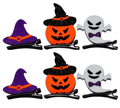 Halloween Hair Pins - 6 pc Pumpkin, Ghost & Witch Hat Mini Hair Clip Decorations - Halloween 6 Clips