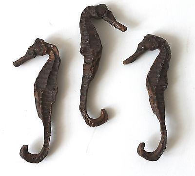 3 Deko Seepferdchen 9cm Gießharz wie echt - See Dekorationen