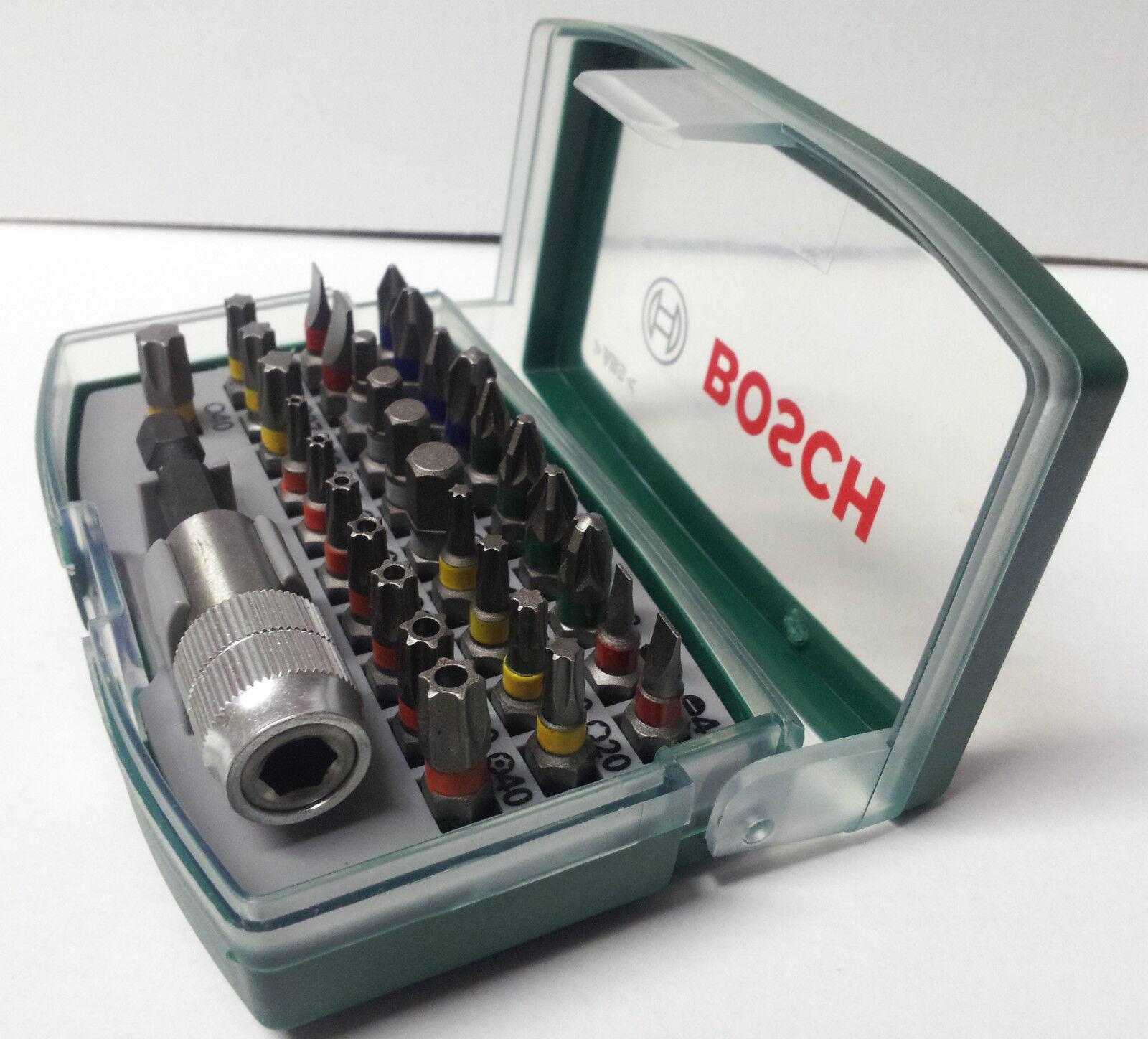 bosch 32 piece screwdriver bit set magnetic bit holder case ph pz hex ebay. Black Bedroom Furniture Sets. Home Design Ideas