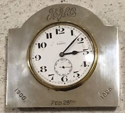 Hallmarked Silver Swiss Made Walker & Hall 1923 Desk Clock Antique Inscription