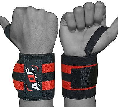 AQF Power Weight Lifting Wrist Wraps Supports Gym Training Fist Straps BLACK 13""