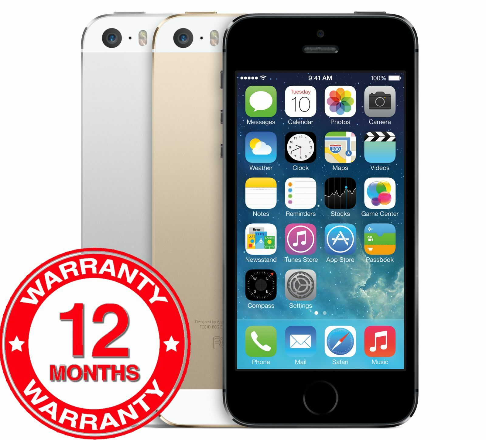 SELLER REFURBISHED APPLE IPHONE 5S 16GB/32GB/64GB - UNLOCKED SIM FREE SMARTPHONE - GOLD/SILVER/GREY