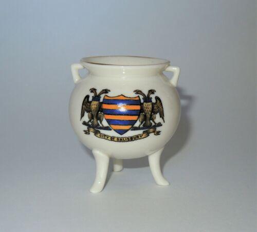 RARE W. H. GOSS Crested Heraldic China Miniature Model of Bronze Pot Salisbury