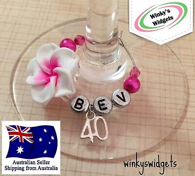 40th Birthday Wine Glass Charm - Personalised Party Gift decoration Ideas ](Wine Party Ideas)