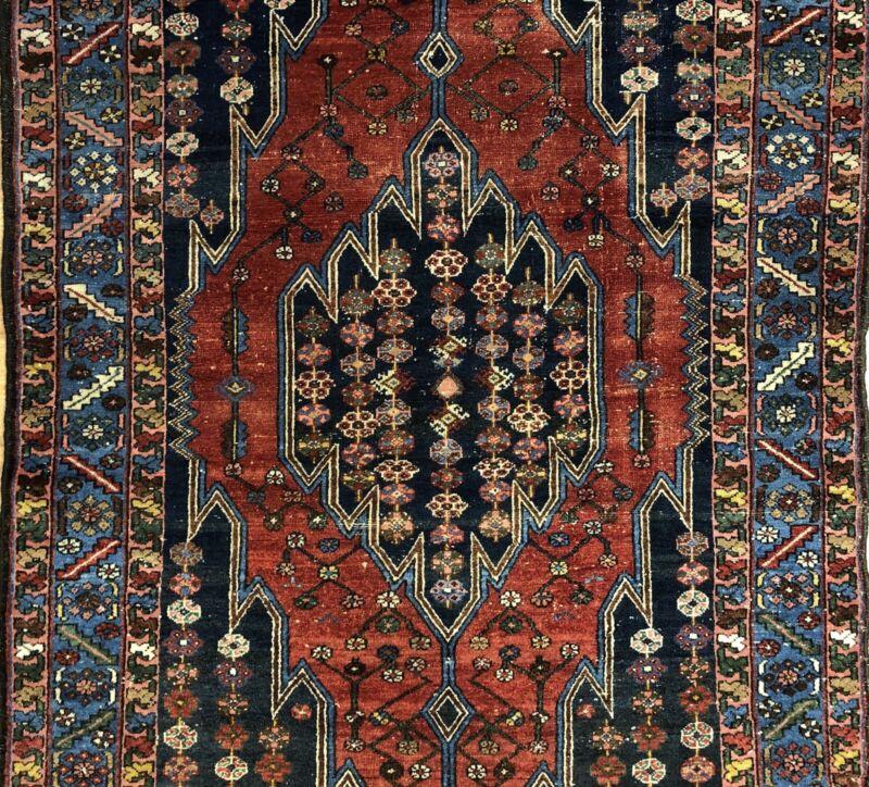 Terrific Tribal - 1940s Antique Oriental Rug - Nomadic Carpet - 4.2 X 6.2 Ft.