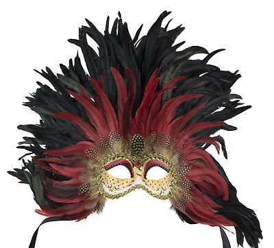 Mask from Venice Colombine Face Feathers of Rooster Black-Red 525