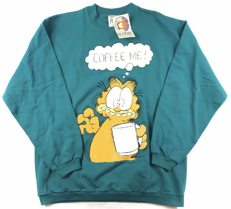 Rare Vintage Garfield 70's Sweatshirt Crewneck Pullover 1978 Spell Out Coffee Me