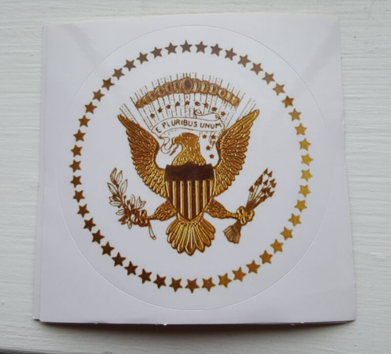 PRESIDENTIAL-SEAL-ROUND-3 INCH WHITE GLOSSY-STICKERS- SET OF 3 STICKERS