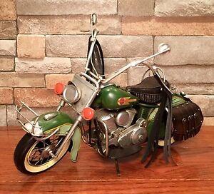Tin Metal 1957 Green Vintage Harley-Davidson Motorcycle Model