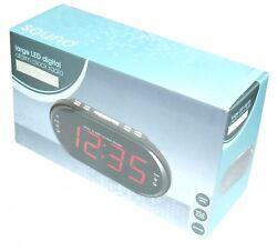 RED LARGE LED DIGITAL ALARM CLOCK RADIO BLACK DUAL ALARMS
