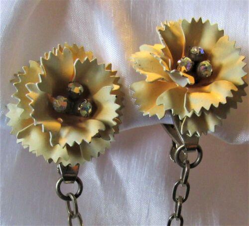 Vintage AB Rhinestones Ecru Flower Floral Sweater Dress Scarf Guard Clip