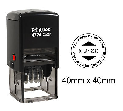 Printtoo Office  Round Custom Dater Stamp Personalized Self Inking-PR4724-102 ()