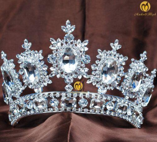 US Large Queen Women Rhinestone Brides Crown Tiara Wedding Pageant Party Diadem
