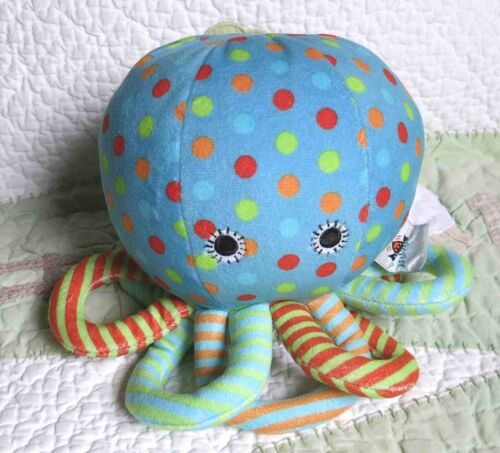 "JellyCat Octopus Chime Blue w Polka Dots & Stripes Plush Stuffed Baby Toy 7"" EUC"