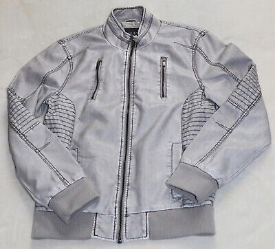 New Guess Mens Faux Leather Jacket Light Grey, Size M, NWT