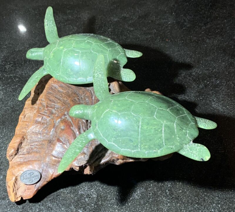 "Sea Turtle Duo ""Jade"" by John Perry 12-inch Sculpture, Pellucida on Burl Wood"