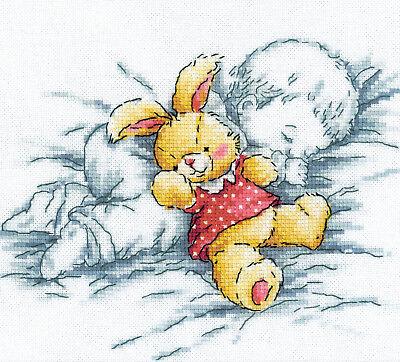 Cross Stitch Kit   Rto Sweet Sleep Baby W Plush Bunny Rabbit Doll  M157