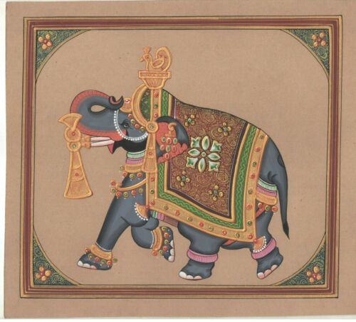 Old+Paper+Gold+Work+Animal+Painting+Miniature+Royal+Elephant+Mughal+Painting+Art