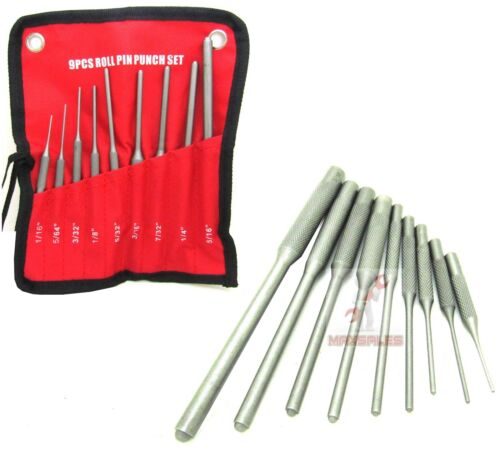 9 Pc Forged Steel Roll Pin Punch Set In Roll Up Pouch Case Rifle Gunsmithing