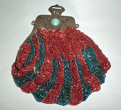 Antique Vintage Beaded Purse Handbag Art Deco Nouveau Beautiful Rusted Frame