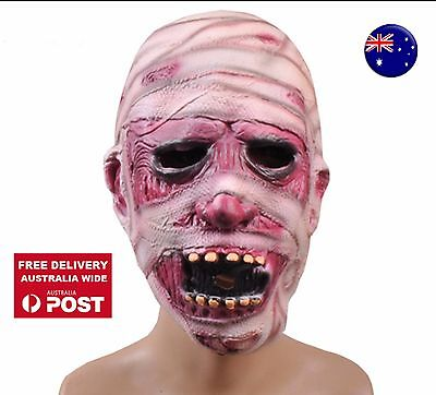 Halloween Scary Creepy Mummy Zombie Face Latex Mask Costume party Head Face - Mummy Halloween Face