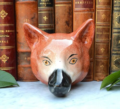 Antique English Ceramic Fox Head Stirrup Cup Staffordshire Pottery The Hunt