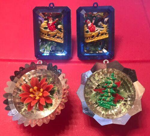 Lot Jewelbrite Plastic Diorama Santa Reflector Christmas Ornaments Rectangle