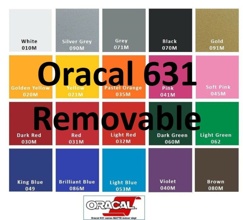 "12"" Adhesive Vinyl Starting package Plotter 5 Rolls 5 Feet  Oracal 631"
