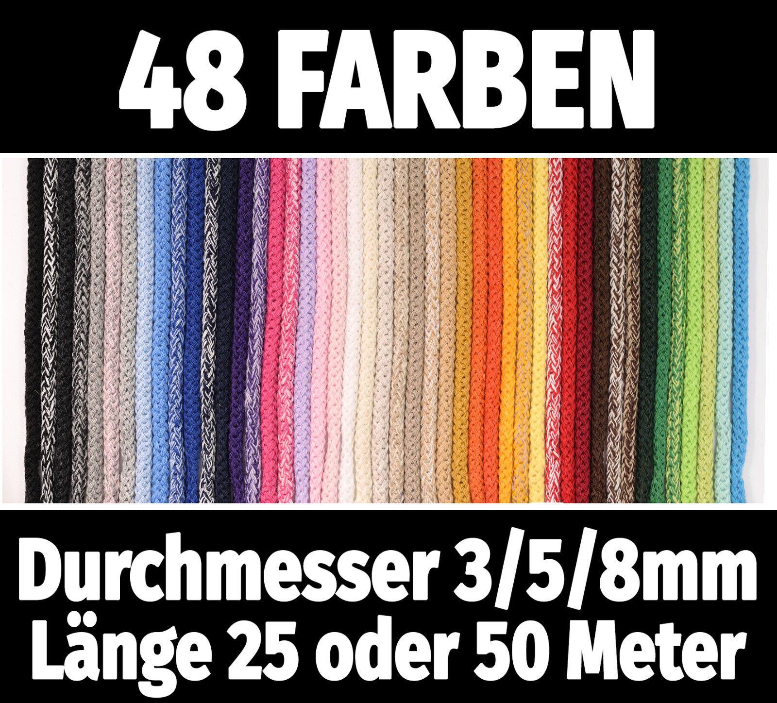 25m/50m Baumwollkordel Ø3/5/8mm Schnur Kordel Baumwolle BW-Kordel Seil·48 Farben