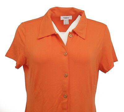 Heine  Polokleid Kleid Polo kurzarm knielang Knopfleiste orange 005860
