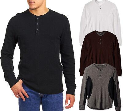 Mens Calvin Klein Henley Long Sleeve T Shirt 100% Cotton NEW Calvin Klein Cotton Henley
