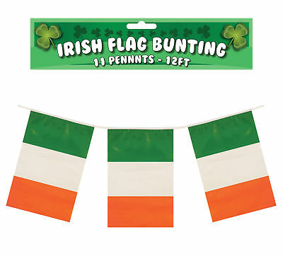 Irish 12ft Flag Bunting - 11 Ireland Flags St Patrick's Day Decoration - Irish Flag Bunting