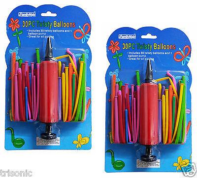 60 Mixed Color Magic Long Animal Tying Making Twist Latex Balloons + 2 FREE Pump - Twisting Balloons