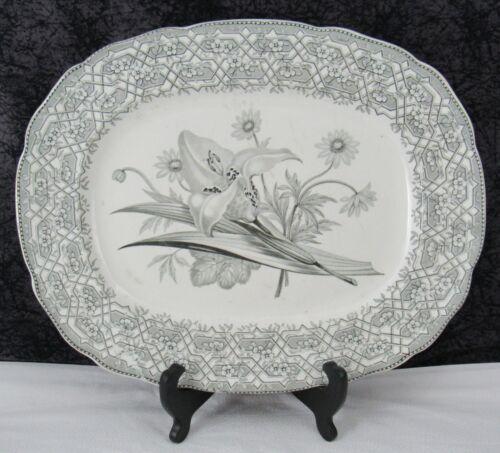 Antique Staffordshire Trellis & Plants Black Transferware Pearlware Platter